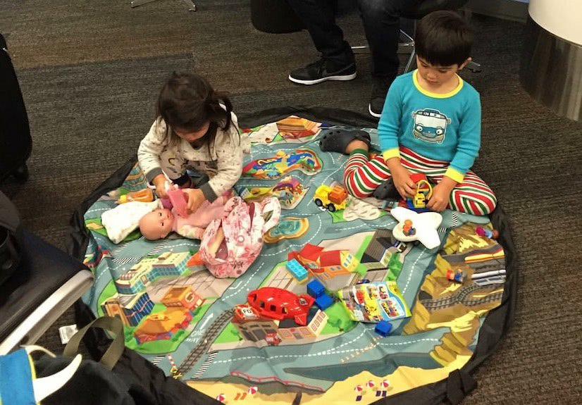 Kids with Play Mat at SFO